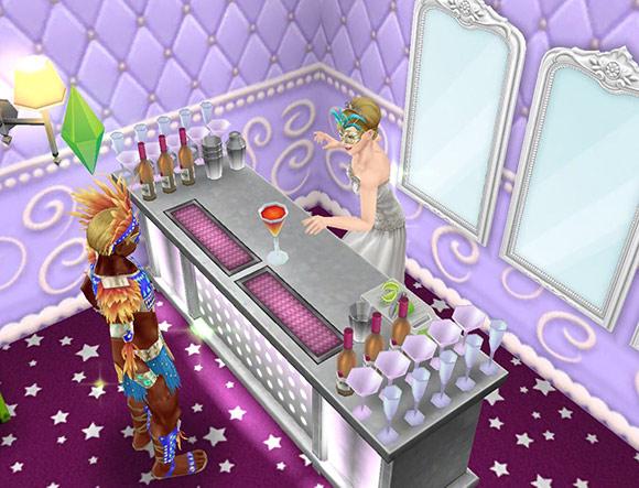 モダンなバーで、カーニバル衣装の男性シムに、カクテルを差し出すウエディングドレス姿の女性シム(The Sims フリープレイ)