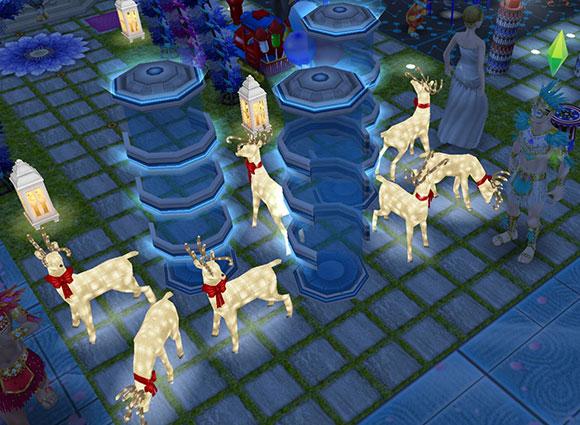 夜、柔らかに青く光るテレポータと、明るく輝くピカピカのトナカイたち(The Sims フリープレイ)