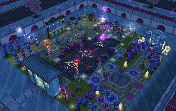 花火ばんばんカーニバルハウス、夜景全体図(The Sims フリープレイ)