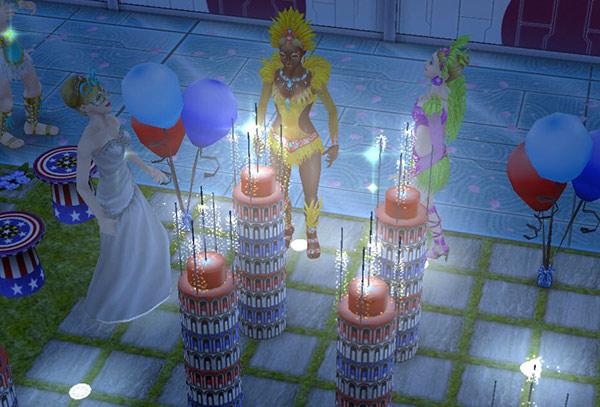 夜、ダークタワー花火の繊細な火花に見入るシムたち(The Sims フリープレイ)