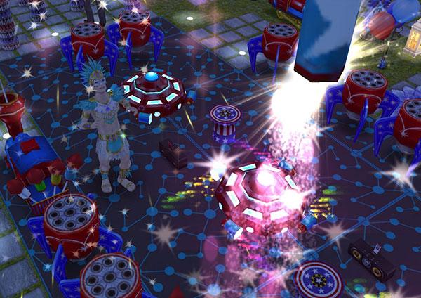 夜、きらきら火花が散る中、打ち上がる花火を楽しげに眺めるカーニバル衣装のシム(The Sims フリープレイ)