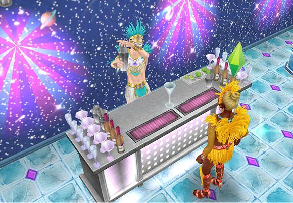 宇宙の壁と多関節ライトの輝きの中、モダンなバーでシェーカーを振る男性シムと、カクテルを待つ女性シム(The Sims フリープレイ)