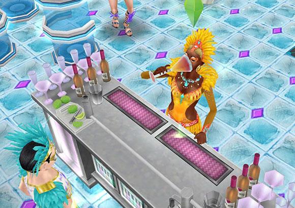 モダンなバーでカクテルを豪快に飲む、カーニバル衣装の女性シム(The Sims フリープレイ)