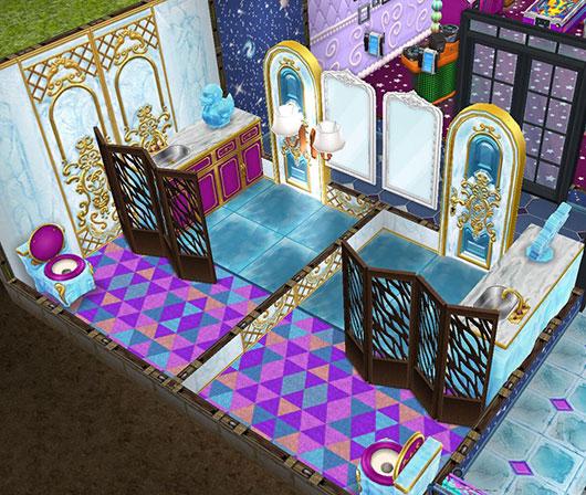 霜硝子の床、青い冷気の壁、ジャックの氷のドア、冷たいトイレ、冷たいベンチトップ、氷のキッチンシンク、アヒルの彫刻、三角形模様のラグなどをあしらったお手洗い(The Sims フリープレイ)