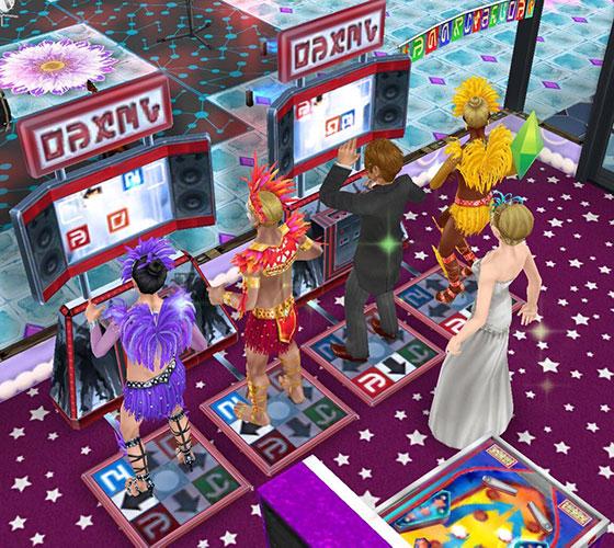 ゲーム「ダンス・ドロップ」で遊ぶ、カーニバル衣装のシムたち(The Sims フリープレイ)