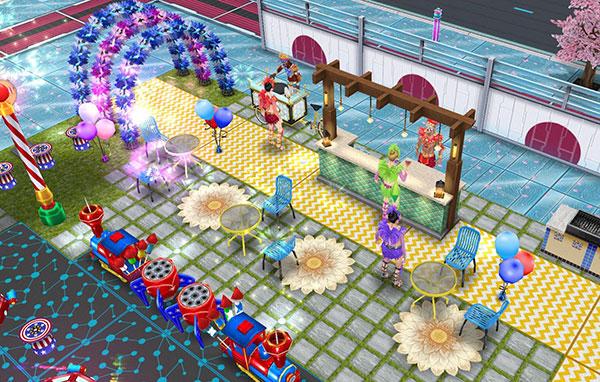 パーティーアーチから、クレープカート、バー、バーベキューと並ぶ屋台風オープンカフェ(The Sims フリープレイ)