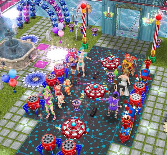 花火広場で、カーニバルパレードのように列をなして踊りまくるシムたち(The Sims フリープレイ)