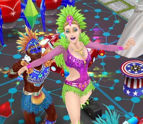 踊りながら笑顔はじける、カーニバル衣装のシムたち(The Sims フリープレイ)