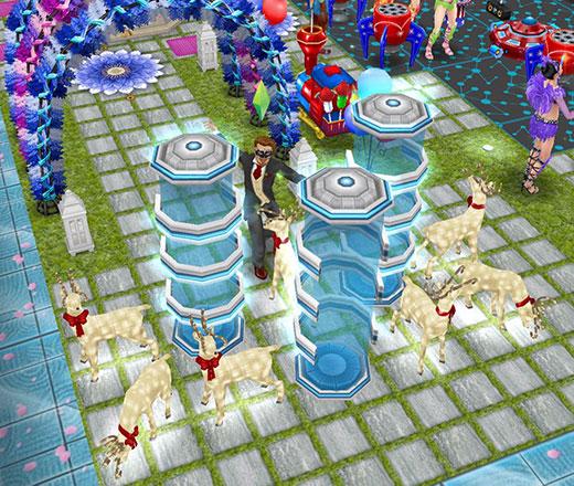 テレポーターと、その周りに飾られたピカピカのトナカイたち(The Sims フリープレイ)