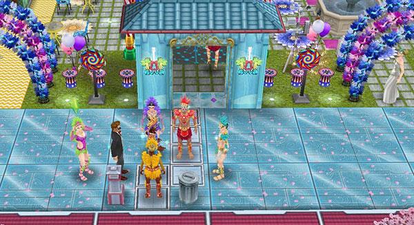 花火ばんばんカーニバルハウス表。回転花火、ネオンのゲート、パーティーアーチと、ネオトーキョーの街並みで華やか(The Sims フリープレイ)