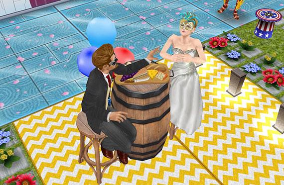 チーズテイスティングで食べさせっこを楽しむ新婚シム(The Sims フリープレイ)