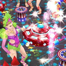 花火がばんばん上がり火花が散る中で踊る、カーニバル衣装のシム(The Sims フリープレイ)