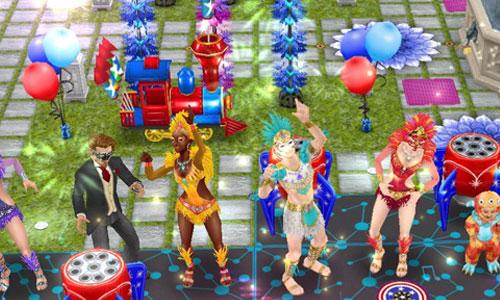 パーティーアーチや風船などを背景に、花火の火花がばんばん飛び散る中、楽しく踊るシムたち花火がばんばん上がり火花が散る中で踊る、カーニバル衣装のシム(The Sims フリープレイ)