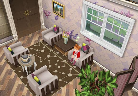 釣りテーマの装飾用壁紙、趣のある農家風の床、茶色の円形模様のラグ、アーバンなベージュのシート、アーバンな茶色のベッドサイドテーブル、お徳用やかん、フルールの瓶、レ・ドア、明るい農家風両開きの窓などをレイアウトした応接間(The Sims フリープレイ)