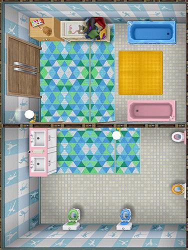 バレエの壁、白いモザイクタイルの床、黄色のラバーバスマット、オニオンブルーのバスタブ、ピンクのバスタブ、ピンクのシンク、ピンクのトイレ、ライムグリーンのトイレ、オニオンブルーのトイレ、オニオンキャラメルのトイレ、シーグリーンの三角形のラグ、服の山、保育所の戸棚、ベビーチェスト、華麗なウォールランプ、薄い色のダブルカーテン、薄い色のスパダブルドアなどをレイアウトした保育所の子ども用共同バスルーム(The Sims フリープレイ)