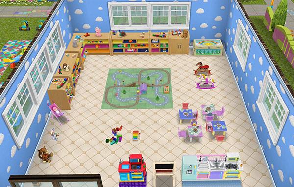 青い雲の壁、明るいデリースの床、明るい農家風の窓、電車セット、ブロックで遊ぶ、ブタ公爵のお茶セット、おとぎ話のお茶セット、木琴、子供用の黒板、デラックスおままごとキッチン、幼児のおままごと用キッチンセット、保育所の戸棚、おもちゃのベビーカー、ドレスアップチェストなどをレイアウトした、乳児&幼児シム用のプレイルーム(The Sims フリープレイ)