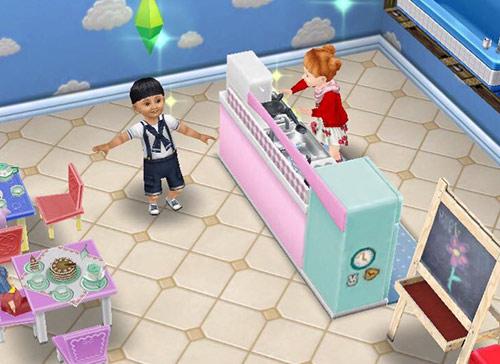 デラックスおままごとキッチンで遊ぶ幼児シムたち(The Sims フリープレイ)