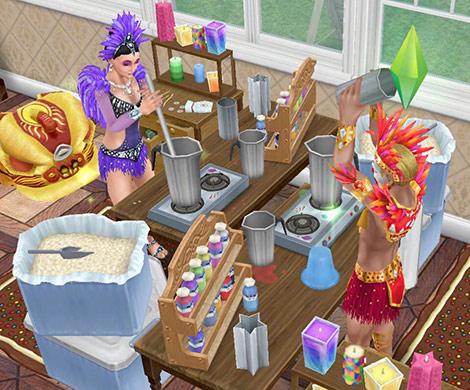 キャンドル工作セットで作業に励むカーニバル姿のシムたち(The Sims フリープレイ)