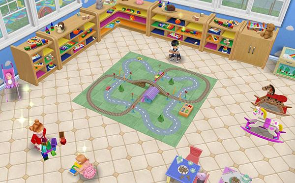 保育所のプレイルーム。電車セットやブロックで遊ぶ幼児シムと、木琴で遊ぶ乳児シム(The Sims フリープレイ)