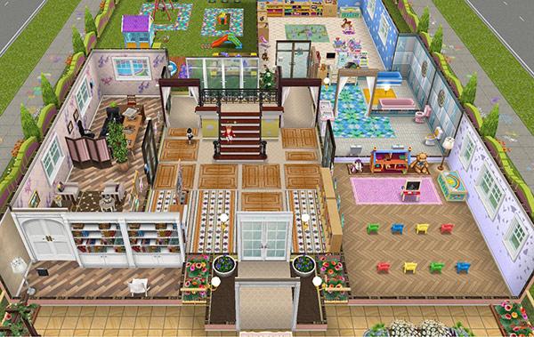 オリジナル夢の保育所1階、室内の全体図(The Sims フリープレイ)