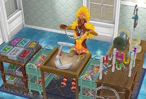 ジュエリー工作セットでアクセサリーに見惚れるカーニバル姿のシム(The Sims フリープレイ)