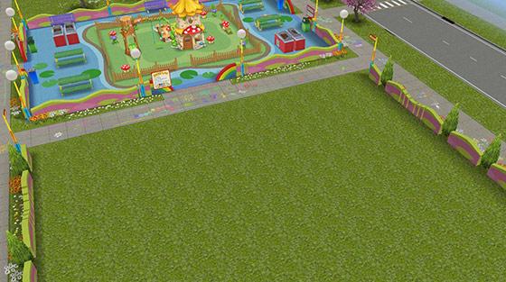 完成直後の「幼児の遊び場」建売住宅(The Sims フリープレイ)
