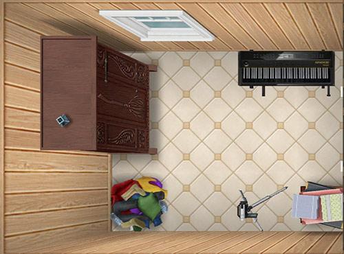 明るいスパの壁、明るいデリース、服の山、高価なキーボード、映画カメラ、収納箱、魔法のほうき入れ、明るい農家風の窓などをレイアウトした物置部屋(The Sims フリープレイ)