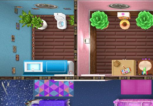 2つ並ぶ個室トイレ。1つは空色の壁の爽やかなバスルーム、もう一方はピンクの壁のジンジャーブレッド・バスルーム(The Sims フリープレイ)