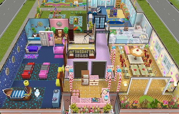 オリジナル夢の保育所2階全体図(The Sims フリープレイ)
