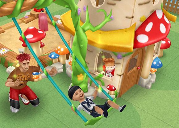 幼児の遊び場で、森のブランコや森のこどもハウスを楽しむシムたち(The Sims フリープレイ)