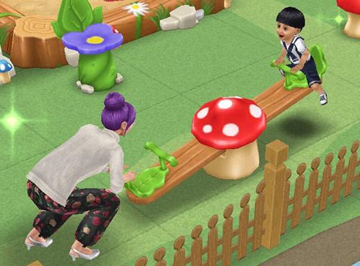 森のシーソーで遊ぶシムたち(The Sims フリープレイ)