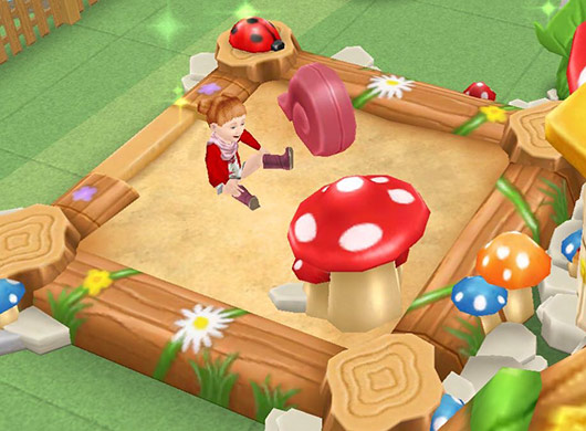 森の砂場で遊ぶ幼児シム(The Sims フリープレイ)