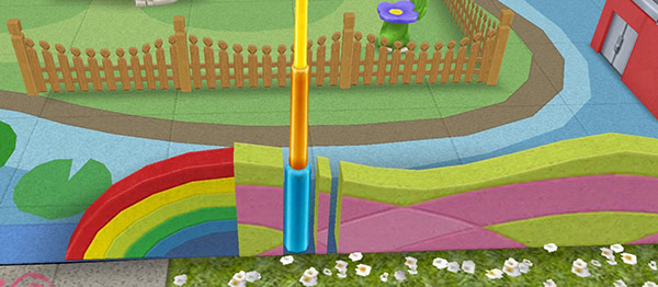 幼児の遊び場付属の木製柵と、カラフルな波型の塀(The Sims フリープレイ)