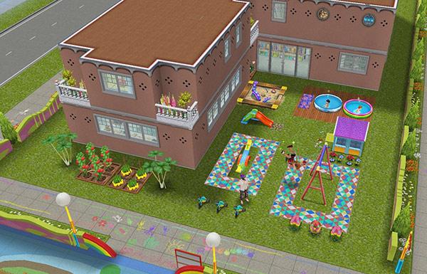 オリジナル夢の保育所、裏側外観(The Sims フリープレイ)