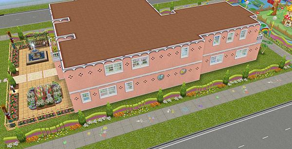 オリジナル夢の保育所、横側外観(The Sims フリープレイ)