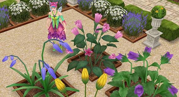 しぼんだ巨大フラワー:ヒナギク、ペチュニア、ブルーベル、パンジー(The Sims フリープレイ)