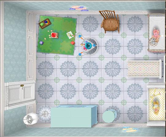 紙貼りデリースの壁、青い花柄の床、白いソリのベビーベッド、ピンクのアンティーク風ベビーベッド、ベビーバウンサー、プレイマット、モビール、ハートのモビール、青のベビーチェスト、青の子供部屋用テーブル、月のナイトライトなどをレイアウトした乳児室(The Sims フリープレイ)