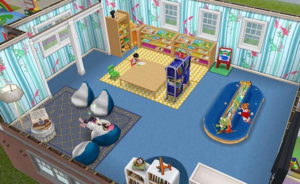 釣りテーマの装飾用壁紙、空色のカーペット、読書用アイランドシート、幼児用の椅子、アートステーション、保育所の戸棚、牛乳の箱を使った本棚、ビーンバッグチェア、白いベッドテーブル、アーバンなグレーのランプ、カバーチュアラグ、フィンガーペイント用イーゼル、明るい農家風の窓などをレイアウトした読書室(The Sims フリープレイ)