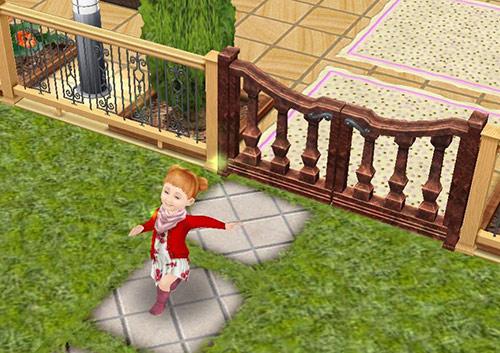 ごきげん笑顔でスキップしながら門を出て行く幼児シム(The Sims フリープレイ)