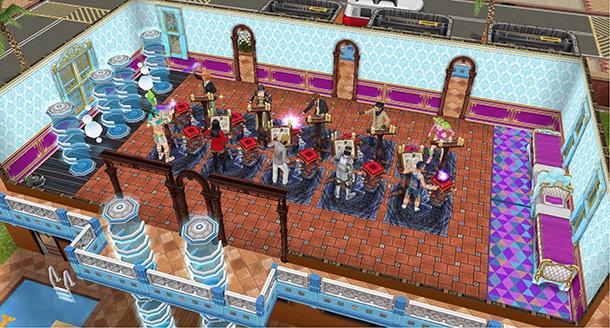 シム10人で趣味「呪文詠唱」ができる大部屋(The Sims フリープレイ)