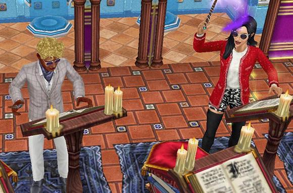 おそろいのサングラスで、趣味「呪文詠唱」を楽しむ男女シム(The Sims フリープレイ)