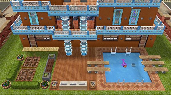 リゾートホテル風ホビーハウスの庭:プールと菜園パッチがある(The Sims フリープレイ)