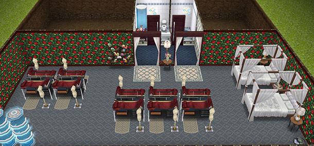 シム10人で趣味「デザインファッション」ができる、地下の大部屋(The Sims フリープレイ)