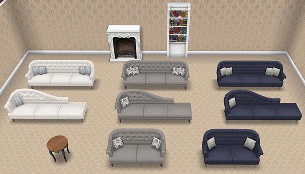 「クラシックなラウンジルーム家具」バンドルに含まれるアイテムを全て並べた部屋:プティット・ノワール・テーブル、フォンセのロマンスシート、青いロマンスシート、ブラン・シェーズ、フォンセ・シェーズ、ブルー・シェーズ、カナペソファ、フォンセのカナペソファ、青いカナペソファ、ブラン・ブックス、デリース暖炉(The Sims フリープレイ)