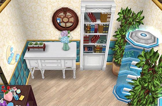 休憩室のタンスと本棚コーナー:明るい農家風タンス、ブラン・ブックス、テレポーター、青の月のナイトライト、北欧風テーブル植物、フルール・デュ・ジャルダン、大きな屋内用植物、朝の農家風の床、氷のボーダーの壁(The Sims フリープレイ)