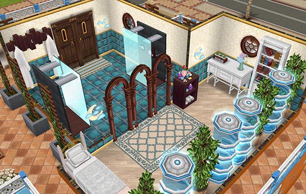休憩室とその奥にあるシャワールーム。リゾートホテル風コーディネート(The Sims フリープレイ)