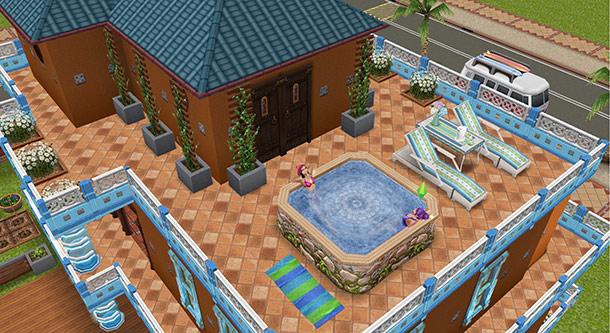 バルコニーにある岩風呂スパ(The Sims フリープレイ)