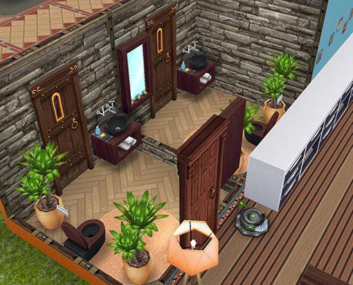 2つ並ぶ個室バスルーム。石や木の素材のアイテムを使用し、リゾートホテル風(The Sims フリープレイ)