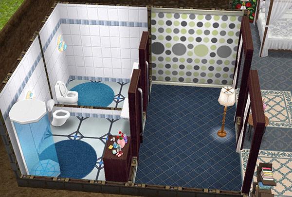 地下室の個室バスルーム2つ。一方にはフォトンシャワーあり(The Sims フリープレイ)