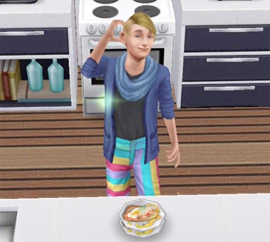 手作りした料理を前に、得意顔のティーンシム(The Sims フリープレイ)
